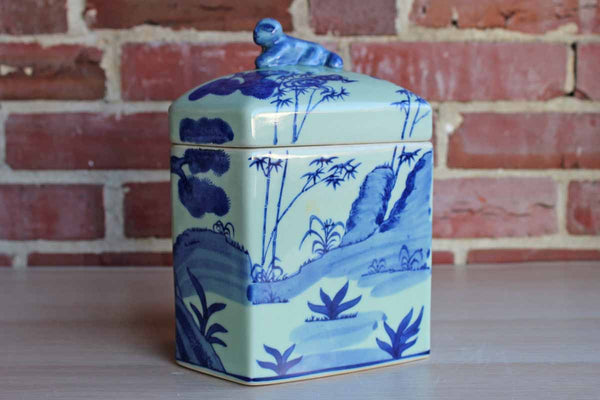 Ceramic Lidded Container with Landscape Scene and Animal Finial