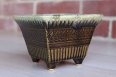 Hull Art Pottery (Ohio, USA) Footed Squared Green Drip Glazed Planter with Continuous Band of Flowers and Stripes
