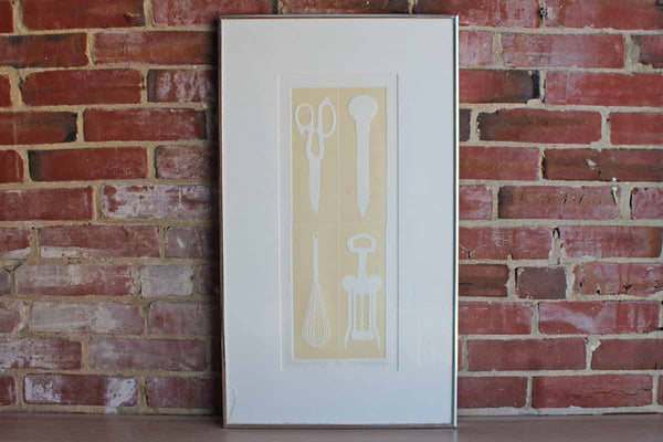 1977 Limited Edition Embossed Etching of Kitchen Utensils by Sondra Mayer