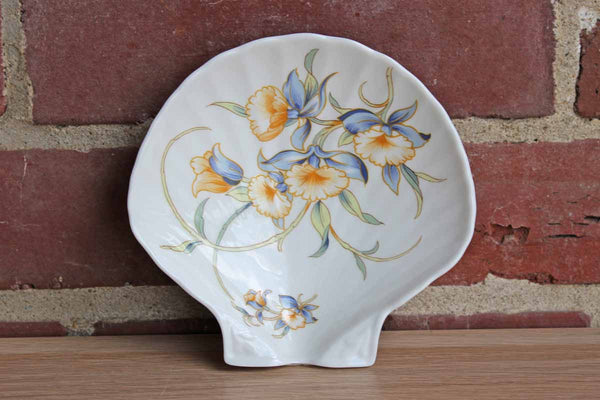 "John Aynsley (England) ""Just Orchids"" Shell-Shaped Trinket Dish"