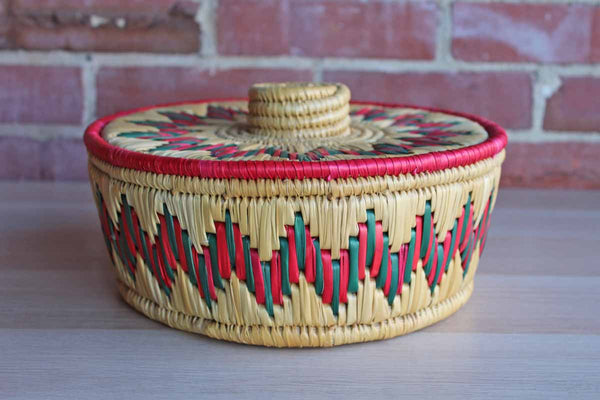 Colorful Straw Basket with Lid