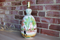 Lapithos Cyprus Hand Painted Lamp with Country Scene