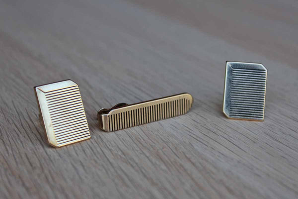 Swank, Inc. Gold Tone Comb Cufflinks and Tie Clip Set