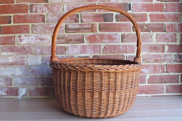 Extra Large Handwoven Round Handled Stake and Strand Basket