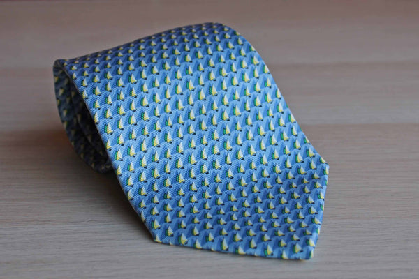 Salvatore Ferragamo (Italy) Silk Necktie Decorated with Little Sailboats