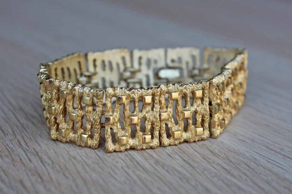 Modernist Gold Tone Bracelet with Textured Links