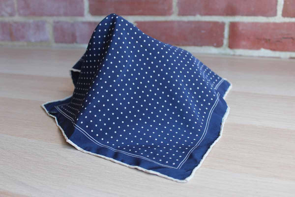 Handmade Pure Silk Pocket Square with White Polka Dots and Border on Navy Blue Background