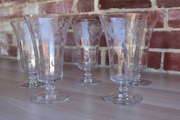 Footed Glasses with Paneled Sides and Etched Flower Designs, Set of 5