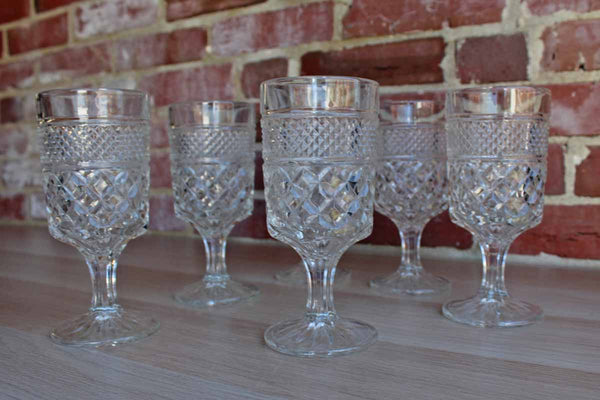 Anchor Hocking (Ohio, USA) Wexford Diamond Point Glass Water Goblets, Set of 6