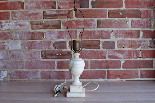 Carved White Alabaster Urn-Shaped Lamp