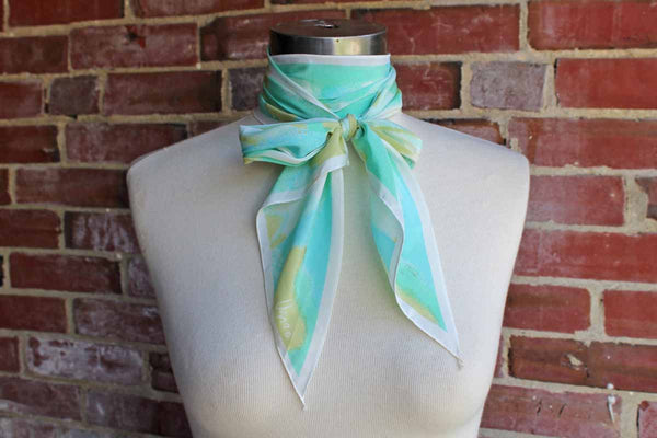 Vera (New York, USA) Long Acetate Scarf with Aqua, Green, and White Abstract Designs