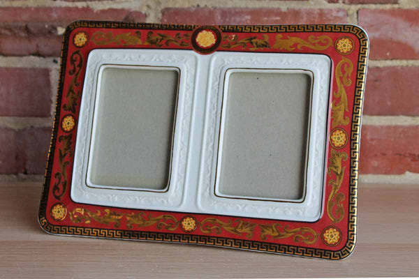 Ceramic Double Frame Ornately Decorated with Gilded Greek Key and Scrolling Floral Acccents