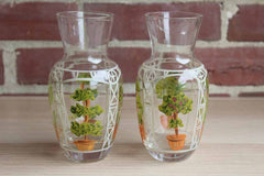 Hand-Painted Trellis and Topiary Glass Decanters, A Pair