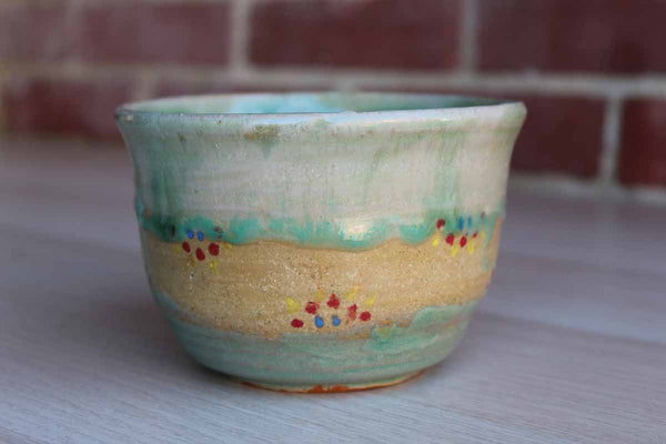 Handmade Ceramic Bowl with Aqua Blue Glaze and Colorful Dots