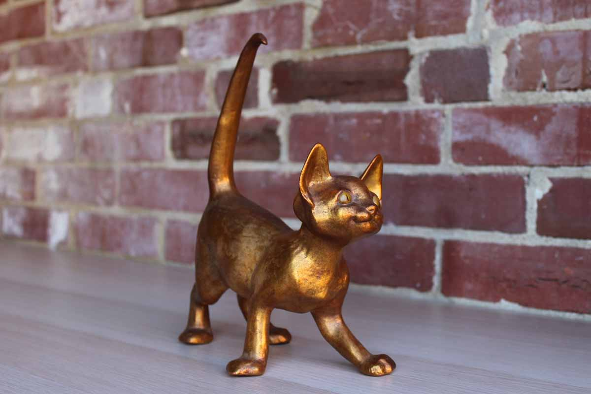 "Freeman McFarlin Pottery (California USA) 10"" Gold Leaf Over Ceramic Cat Figure"