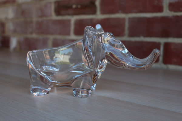 Art Vannes (France) Clear Crystal Elephant Bowl