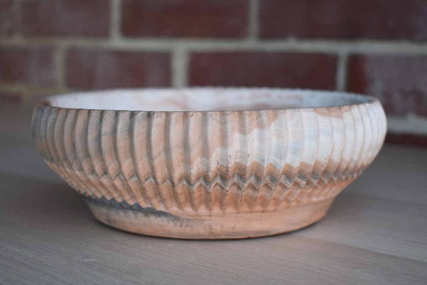 Comanche Pottery (Texas) Earthenware Bowl with Ribben Sides and Swirled Earth Tones