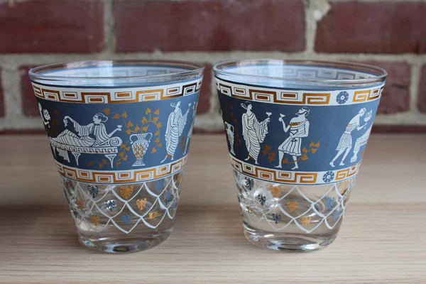 Flared Double Old Fashioned Glasses Decorated with Greek Drinking Scenes, A Pair