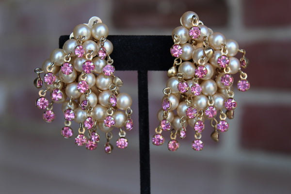 Faux-Pearl and Pink Rhinestone Dangling Ear Climber Clip-On Earrings