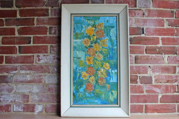 1963 Original Oil Painting of Colorful Flowers by Marlene Devlin