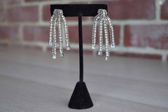 Pierced Earrings with Silver Rhinestone Rope Designs