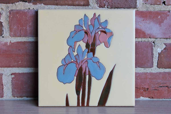 Mag Mor Art Tiles (New Mexico, USA) Blue Irises Ceramic Tile Adapted from a 17th Century Japanese Handscroll