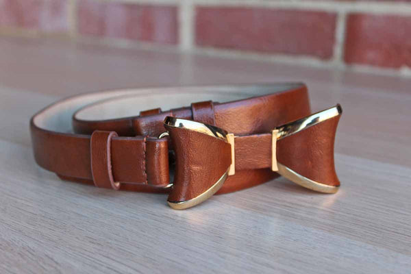 Brown Leather Belt with Bow Buckle and Gold Tone Accents