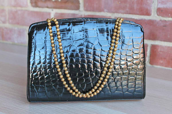 Glossy Black Faux Crocodile Handbag with Gold Tone Beaded Double Straps