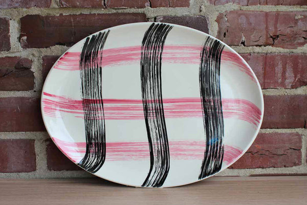Stetson China Company (Illinois, USA) Scots Clan Pink & Charcoal Oval Serving Platter