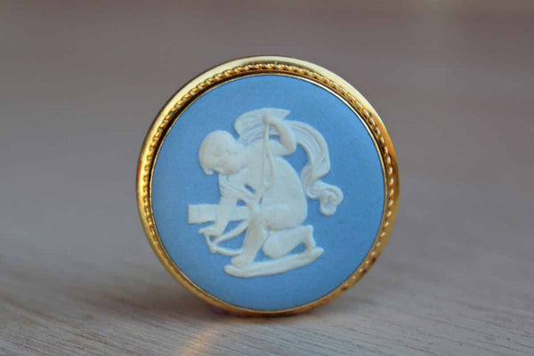 Wedgwood (England) Blue Jasperware Gold-Plated Cupid Brooch/Pendant