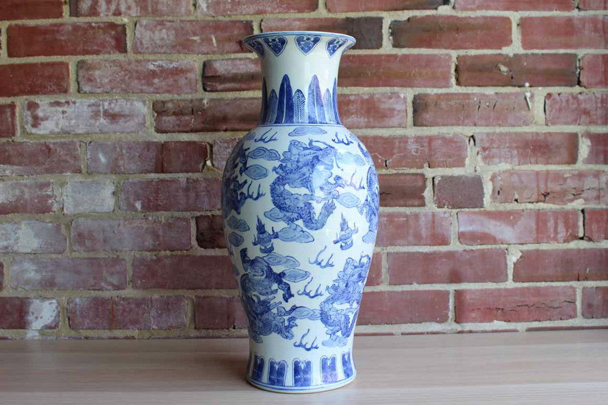 "Chinese Blue and White 18 1/4"" Baluster Shaped Vase with Repeating Dragons Pattern"
