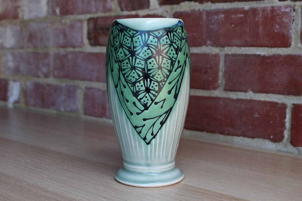 Handmade Stoneware Vase with Green Art Deco-Inspired Abstract Flower Design