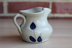 Williamsburg Pottery (Virginia, USA) Little Stoneware Pitcher with Primitive Blue Flower