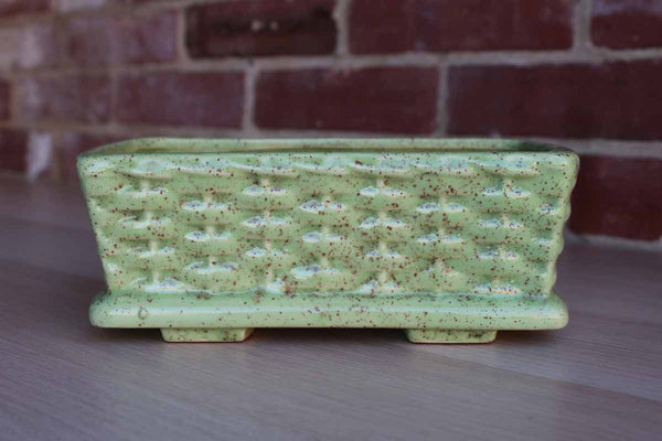 Green and Brown Speckled Rectangular Ceramic Planter with Basketweave Design