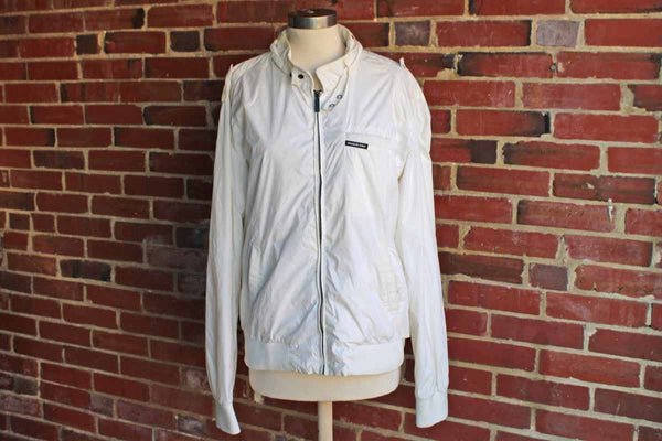 Members Only (USA) White Nylon Racer Jacket, Size Large