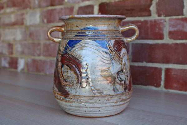 Handmade Stoneware Container with Top-Set Decorative Handles