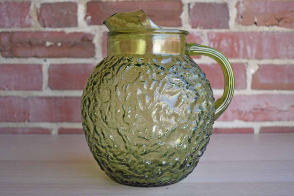Anchor Hocking (Ohio, USA) Milano Green Glass Ball Pitcher