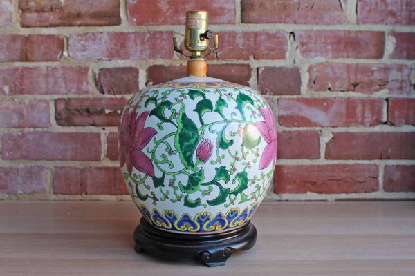 Squat Round Ceramic Table Lamp Decorated with Large Pink Flowers and Scrolling Green Leaves