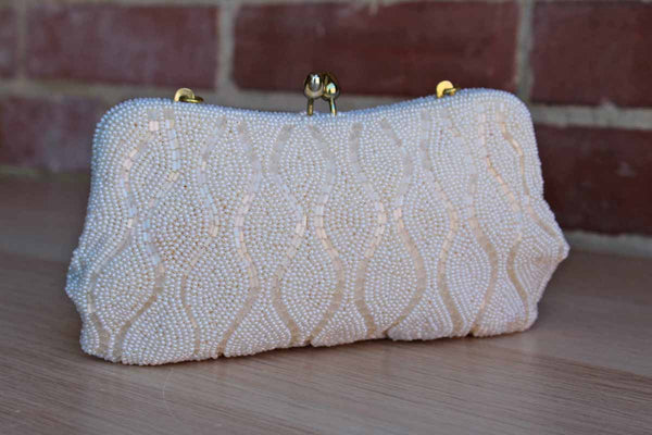 La Regale Original (Japan) Shimmering Ivory Clutch with Italian Beads and Optional Gold Strap
