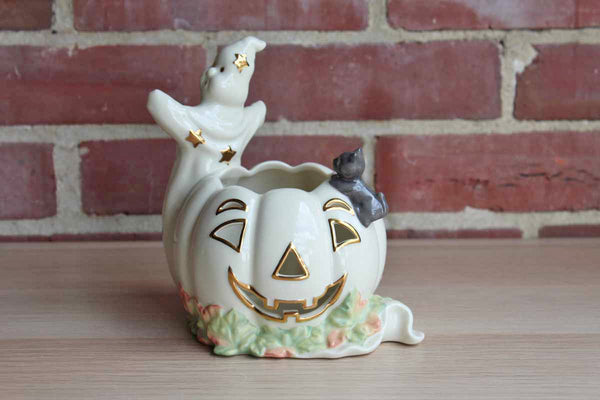 Lenox (USA) Porcelain Halloween Pumpkin Votive with Ghost and Gray Cat