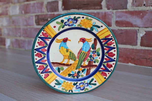 Hand Painted Decorative Plate with Birds and Flowers, Made in Palermo Italy
