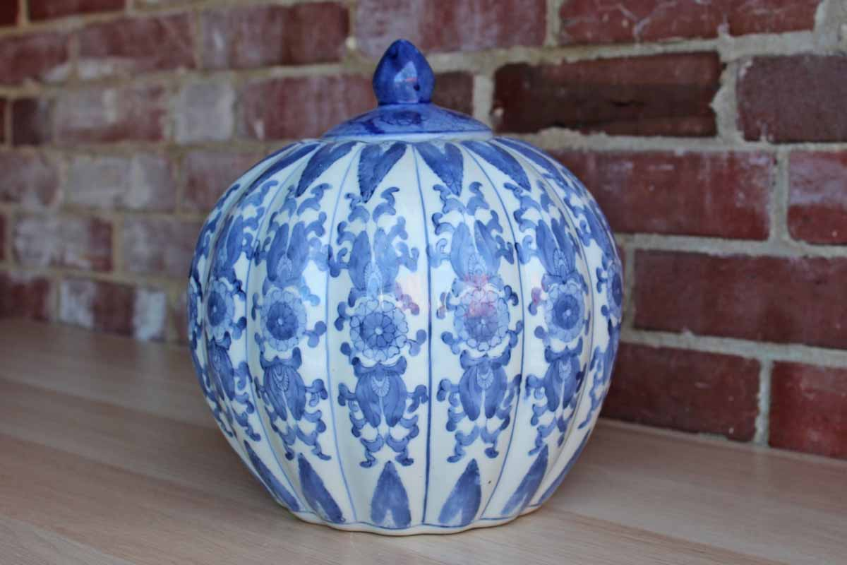 Chinese Blue and White Ginger Jar with Lid