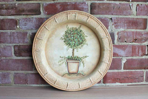 Heavy Round Decorative Ceramic Tray with Hand-Painted Topiary Design