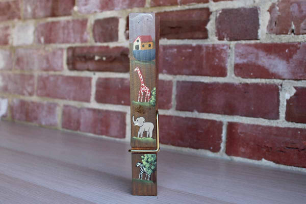 Large Wooden Clothespin with Handpainted Noah's Ark Animals