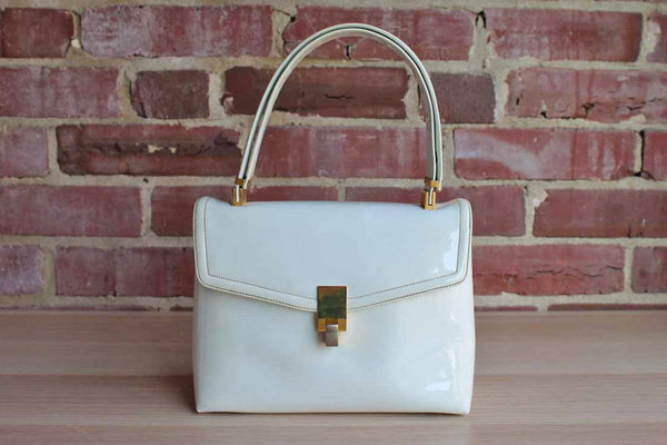 Koret (New York, USA) Korettalak Shiny White Handbag with Gold Tone Detailing