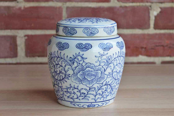 Chinese Blue and White Lidded Ginger Jar