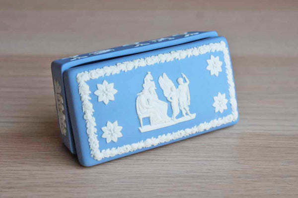 "Wedgwood (England) Jasperware China ""Icarus and Daedalus"" Rectangular Box"