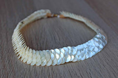 Mother of Pearl Sequins Choker Necklace with Spring Ring Closure