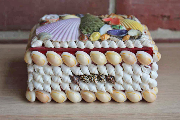 Trunk-Shaped Colorful Seashell Box with Red Felt Interior
