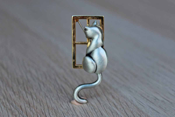 Brush Silver Tone Cat Staring Out of a Gold Window Brooch